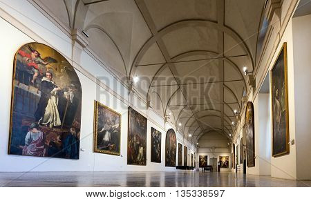 MANTUA ITALY - APRIL 28 2016: Interior of the 13th century Mantua's Ducal Palace a major tourist attraction and a part of the Mantua UNESCO World Heritage Site.