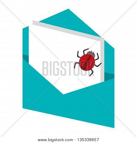 open blue envelope with paper document and red bug coming out vector illustration