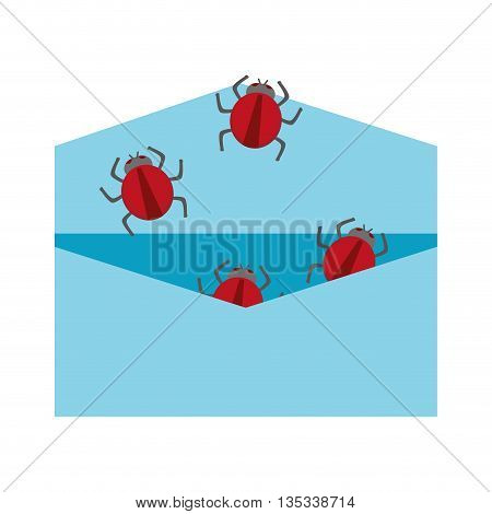 open blue envelope with red bugs coming out vector illustration