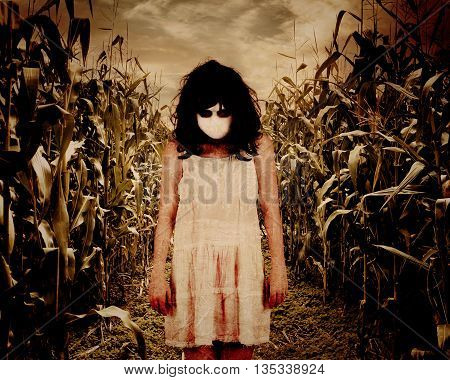 A scary woman ghost is wearing an old white dress in a dark corn field background for a horror Halloween theme concept.