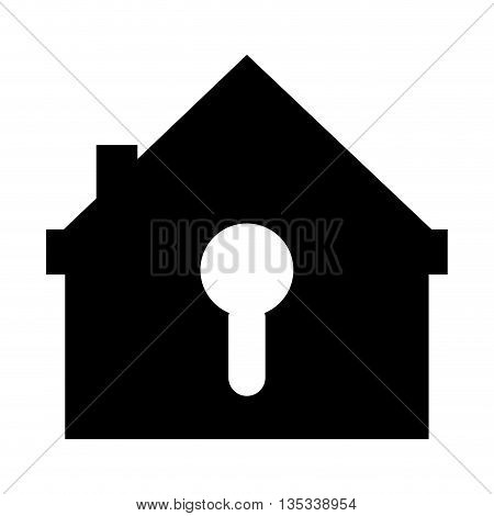 house shape safety lock with keyhole on front vector illustration