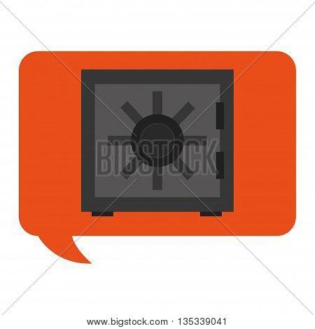 orange conversation bubble with safety vault inside vector illustration flat style design