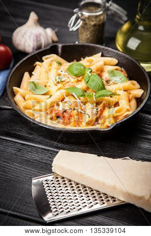 Traditional penne pasta