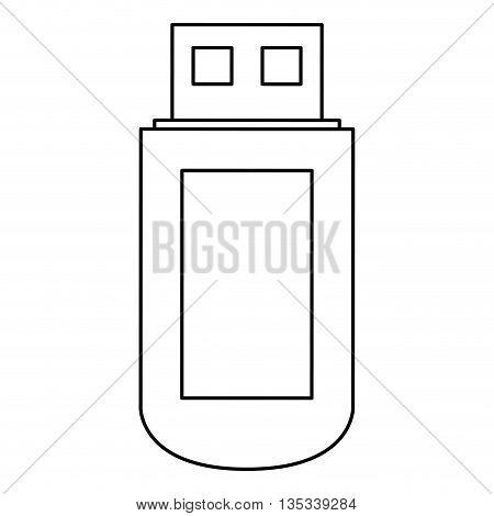 simple black line usb vector illustration flat style design