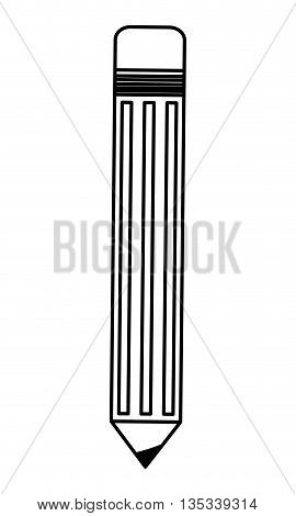 simple black line pencil with eraser on top vector illustration