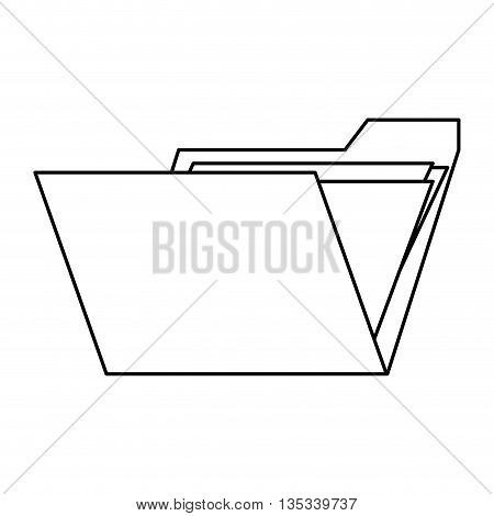 simple black line folder with paper documents inside vector illustration