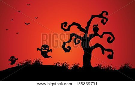 Halloween ghost and dry tree in silhouette illustration