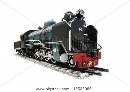 Retro steam locomotive isolated on white background. with clipping path