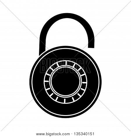 open black and white safety lock vector illustration