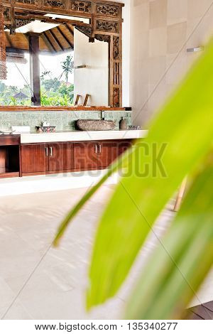 Outdoor Washroom View Among Leaves In A Traditional House