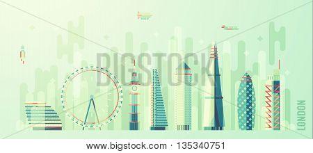 London England city skyline vector illustration flat style