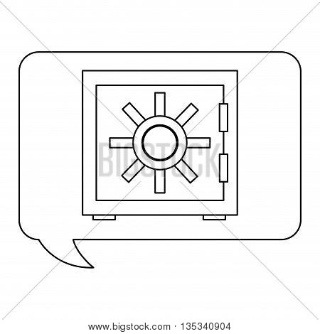 conversation bubble with safety vault inside vector illustration