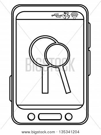 simple black line cellphone with three buttons in the bottom and three buttons to the side and two magnifying glass on the screen vector illustration