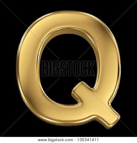 Golden shining metallic 3D symbol letter Q - isolated on black