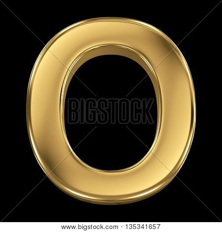 Golden shining metallic 3D symbol letter O - isolated on black