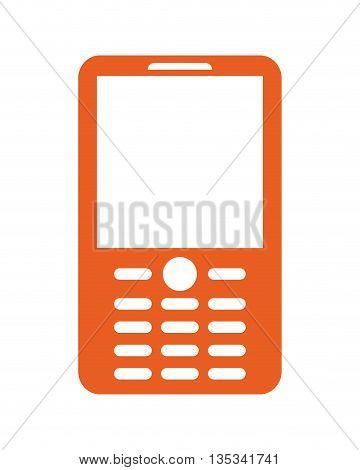 orange cellphone with severalwhite buttons on the bottom of the screen flat style design