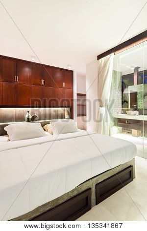 Luxury Bedroom At Night Illuminated With Flashing Lights