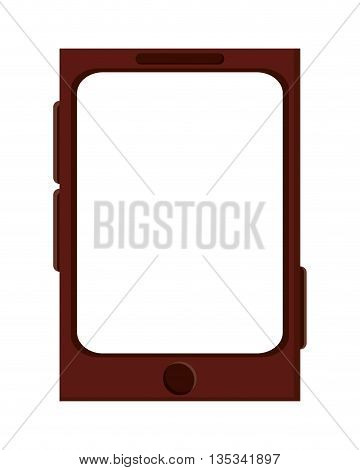 brown cellphone with button on front and three on the sides vector illustration