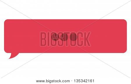 red rectangle chat bubble with three dots in the center vector illustration