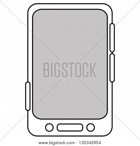 simple black line cellphone with three buttons in the bottom and three buttons to the side