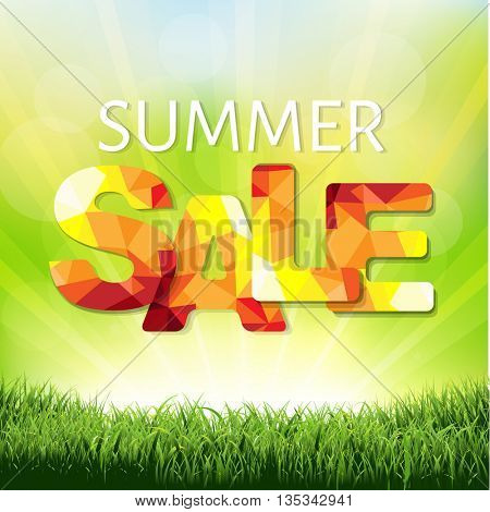 Sale Poster With Green Grass And Sunburst