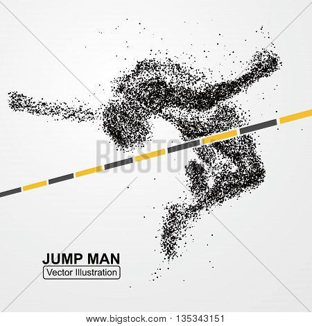 High jump man,Vector graphics, composed of particles.