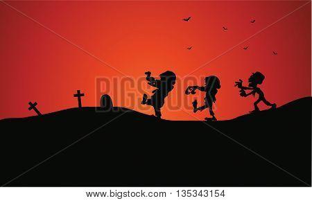 Silhouette of Halloween zombie in tomb vector art