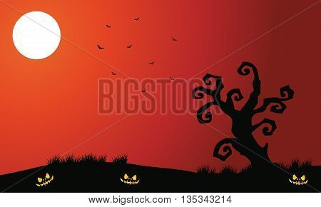 Silhouette of dry tree and bat Halloween a scary