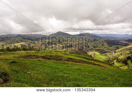 Scenic landscape of the Andes Mountain range near Riobamba Ecuador