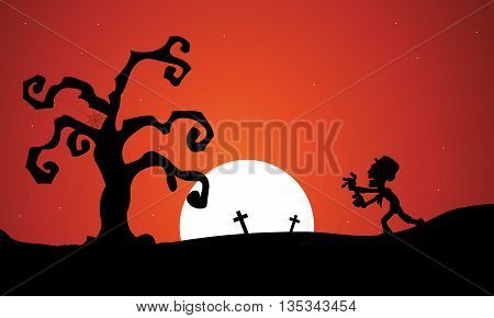 Silhouette oof Halloween zombie dry tree with moon backgrounds