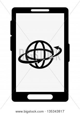icon of smartphone with global shape on flat style, vector design