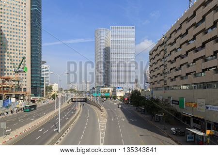 Tel-aviv, Israel - January 22, 2016: Almost Empty Menachem Begin Street