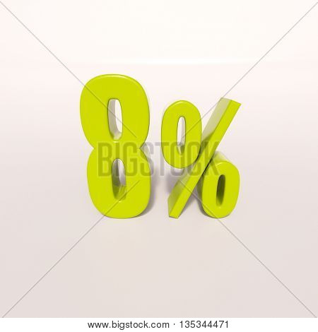 3d render: green 8 percent, percentage discount sign on white, 8%