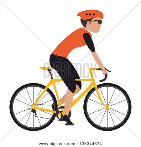 woman riding yellow bike with full gear vector illustration