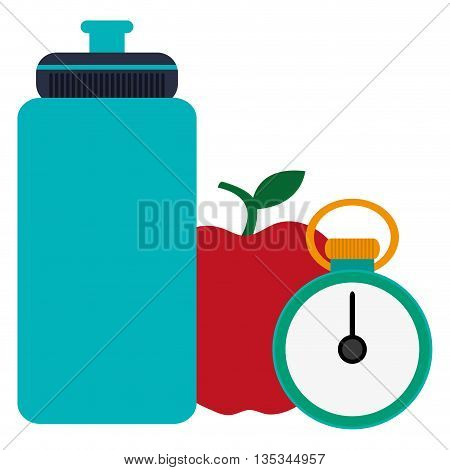 blue sports water bottle with red apple and green and yellow chronometer vector illustration
