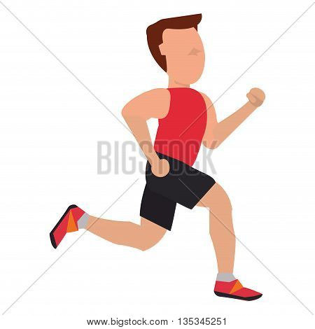 person with sleeveless top jogging vector illustration