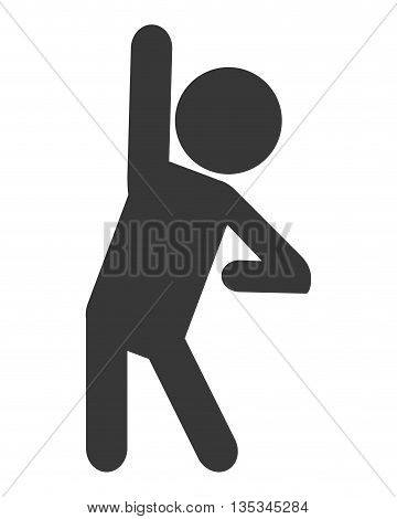 simple grey silhouette of person stretching vector illustration