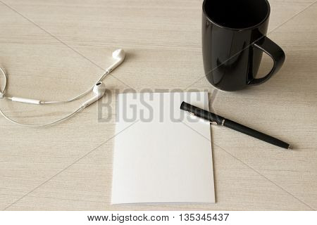 Blank note prepare to writing something with coffee