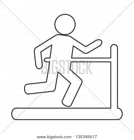 simple black line person running on treadmill vector illustration