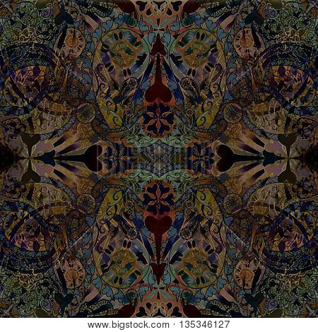 dark old oriental floral  patterned  background,  symmetric