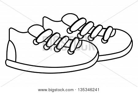 simple black line sneakers with white laces and soles vector illustration