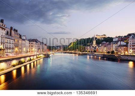 Quai De Saone Of Lyon At Sunset, France