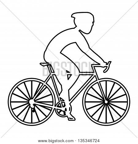 simple black line of person riding a bike with full gear vector illustration