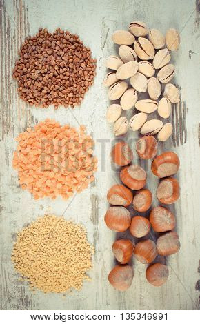 Vintage Photo, Products And Ingredients Containing Iron And Dietary Fiber, Healthy Nutrition