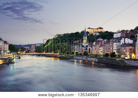 Old City Of Lyon At Sunset, France