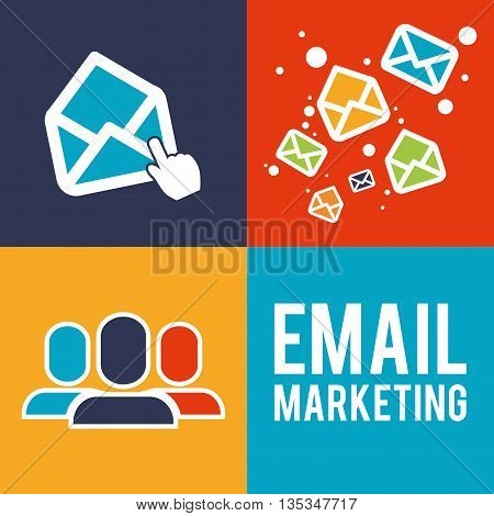 Email marketing  design over colorful background, vector illustration.