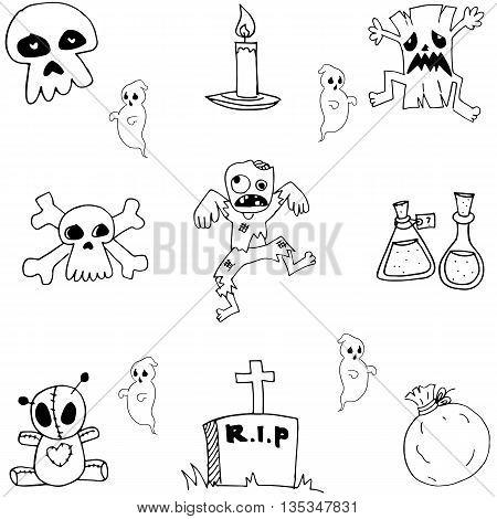 Halloween doodle set zombie, tomb, ghost vector illustration