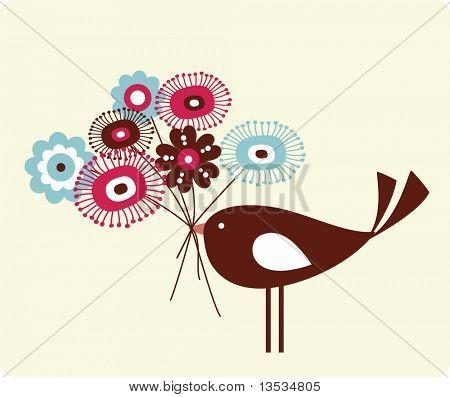 cute bird and flower design