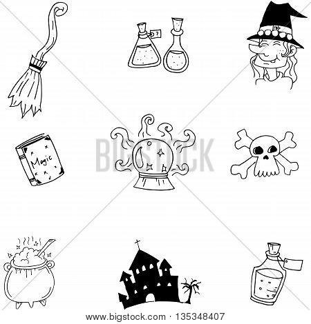 Element Halloween witch castle doodle vector art