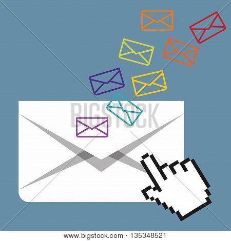 Email marketing  design over blue background, vector illustration.